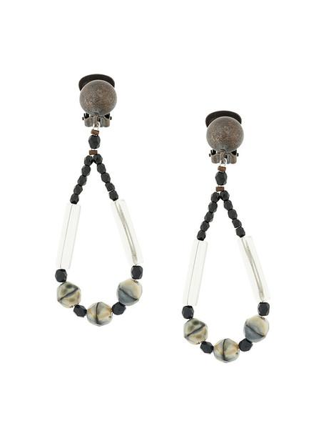 Armani Collezioni metal women beaded earrings grey metallic jewels