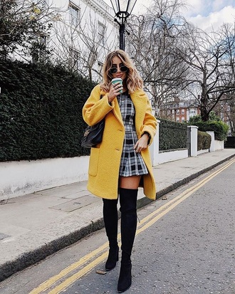 romper printed romper coat yellow coat black boots bag tartan boots over the knee boots over the knee sunglasses
