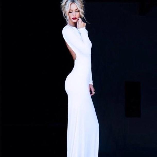 dress white dress fitted dress long sleeve dress long prom