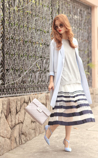 mellow mayo blogger pleated skirt quilted bag striped skirt midi skirt