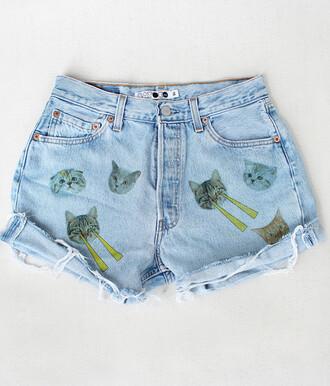 shorts cats high waisted shorts odd future love denim denim shorts cute angle b.e.a.u.t.i.f.u.l! laser eyes cat shorts