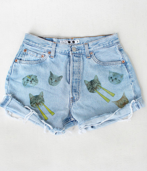 shorts cats cute love, shirt, angle, b.e.a.u.t.i.f.u.l! i like cats denim denim shorts cat high waisted short odd future