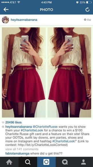 cream burgundy skirt