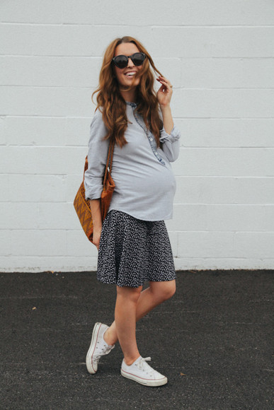 floral skirt shoes the day book blogger pregnancy converse denim shirt