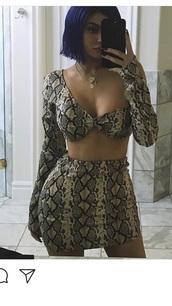 dress,kylie jenner,snake print,two piece dress set
