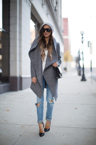 maria vizuete mia mia mine blogger coat hat jeans shoes bag sunglasses