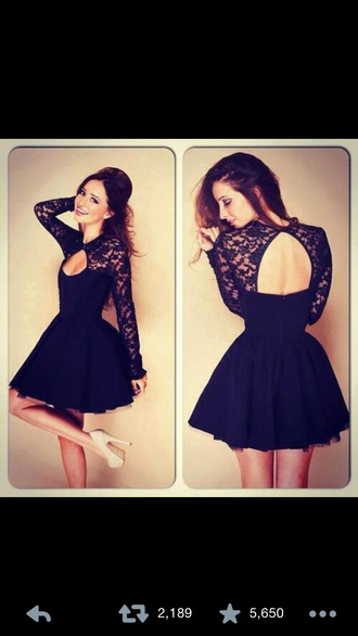 dress lacedress little black dress mini dress cute dress lace dress open back dresses open back holiday dress black dress long sleeve dress homecoming dress
