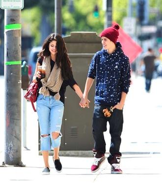 jeans selena gomez scarf boyfriend menswear