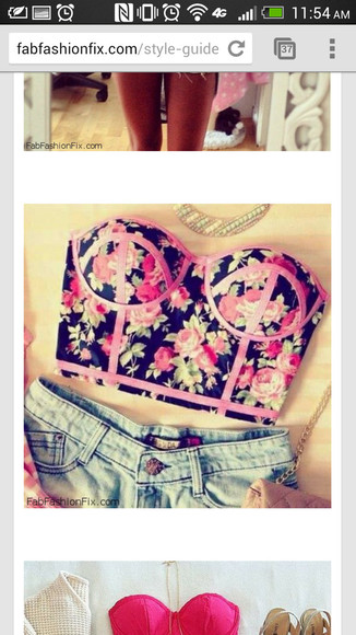 shirt crop tops floral bustier cute as hell