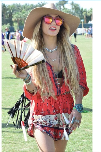 shirt vanessa hudgens sunglasses jewels dress hat coachella shoes gloves home accessory romper jumpsuit clothes summer festival red dress boho dress orange dress festival dress patterned dress hippie blonde hair sunglasss hip red romper edm rave red