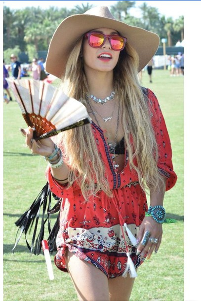 shirt vanessa hudgens sunglasses jewels dress hat coachella shoes gloves home accessory romper jumpsuit clothes red boho style cute fashion summer bohemian chic peasant dress festival red dress boho dress orange dress coachella festival dress patterned dress hippie blonde hair sunglasss hip red romper edm rave
