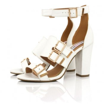 White Leather Style Heeled Sandals | Buy White Leather Style Heeled Sandals Online
