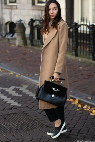 blogger white shirt jewels the fashion cuisine camel camel coat pants stripes satchel bag