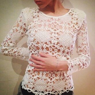 top lost souls crochet top lace top white top white lace top long sleeve top cut out top cute top summer top spring top see through