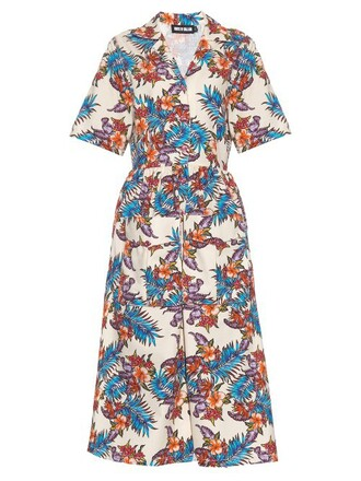 dress shirt dress floral cotton print cream