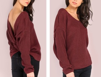 sweater knitwear girly girl girly wishlist burgundy burgundy sweater knit knitted sweater fall sweater fall colors