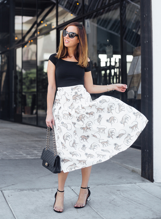 sydne summer's fashion reviews & style tips blogger top shoes sweater skirt bag jewels sandals mid heel sandals midi skirt chanel bag fall outfits