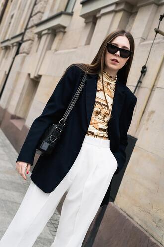 oliviakijo blogger top jacket pants bag sunglasses shoes