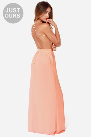 Sexy Backless Dress - Peach Dress - Maxi Dress - $49.00