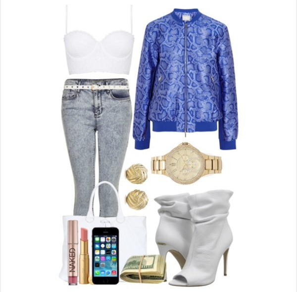 jacket snake print blue bomber jacket shoes bag jewels