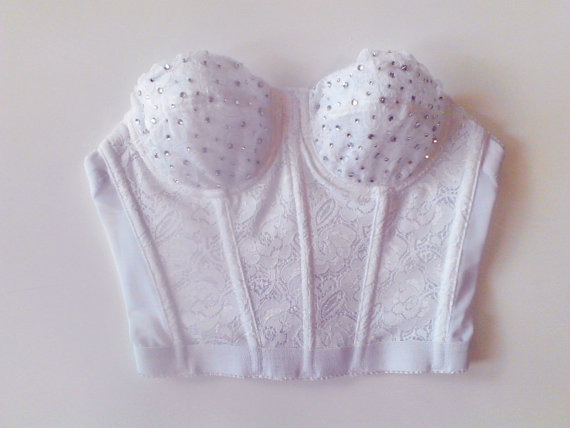 Floral Lace Diamond Studded Bustier Crop Top  by JadoreDiamondWear