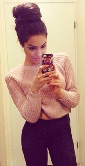 knit sweater knit sweater jumper pink cropped cropped sweater