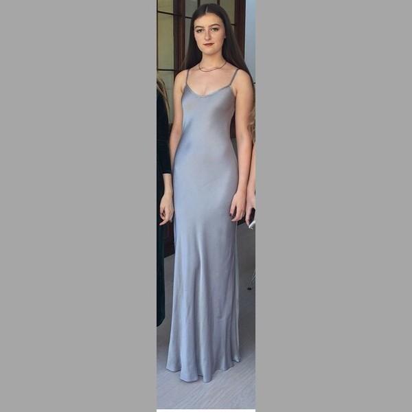 Satin maxi dress grey
