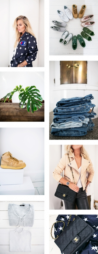 angelica blick blogger jacket denim shorts nude sneakers chanel chanel bag outfit shoes jeans shorts nike shoes coat