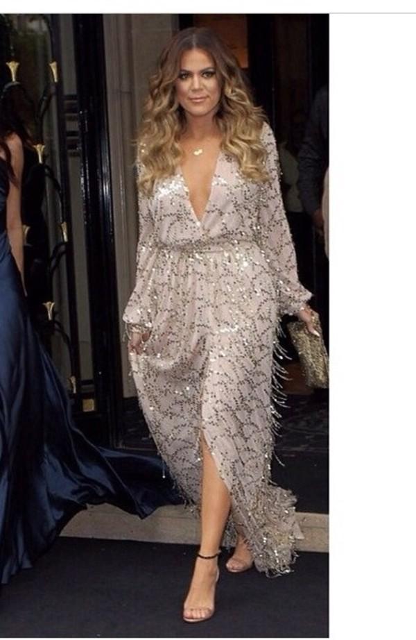 Dress Gold Clevage Silver Khloe Kardashian Maxi Dress Khloe Kardashian Dress Wheretoget