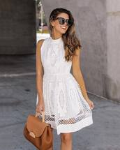 dress,midi dress,floral dress,crochet dress,sleeveless dress,white dress,handbag,sunglasses