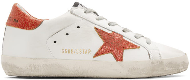 Golden goose sneakers white red shoes