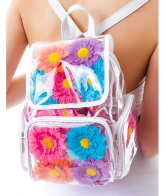bag flowers blue pink transparent  bag cool summer back to school backpack trendy teenagers it girl shop