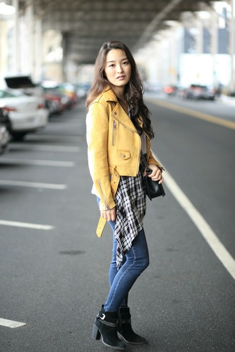 sensible stylista blogger top jeans shoes jacket bag yellow jacket biker jacket ankle boots