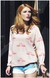 sweater,jumper,bella thorne,pink,red hair,flamingo