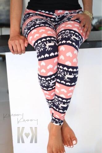 leggings pants print pink black backwards reversed color b heart deer snowflake colorblock holiday season christmas leggings tights girly girl girly wishlist