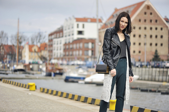 shiny sil blogger biker jacket