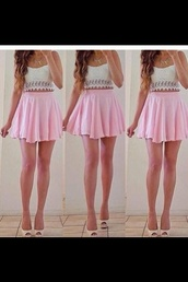 dress,skirt,shirt,shoes,baby pink,baby pink skirt,blouse,t-shirt,white crop tops,crop tops,white,cute,wanted,tank top,jewels,top,skirt pink,high heels,yes.,crop top and skirt,jeans,pink white cool summer pretty dress happy,pink dress,short dress,tumblr,pink,pink skirt,pink skirt and white top,jumpsuit,gorgeous,crop,white shoes,beautiful,girly,necklace,bag,print,lace crop top,cream/white,spaghetti strap,sweetheart top,lace top,summer