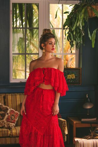 blouse red red top red lace red lace dress crop tops maxi skirt red skirt skirt midi skirt lace skirt lace top lace crop top off the shoulder top off the shoulder off the shoulder dress lace up lace up top boho chic boho dress boho shirt hippie hippie chic ootd