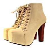 Odeon Lace Up High Heel Platform Ankle Boots Cream - Odeon from Shoebou UK