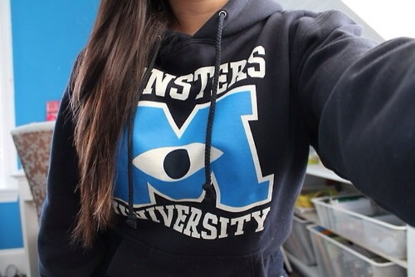 jacket disney cute jacket monster university hoodie sweater sweater monsters university pls tumblr monsters inc. black white blue shirt