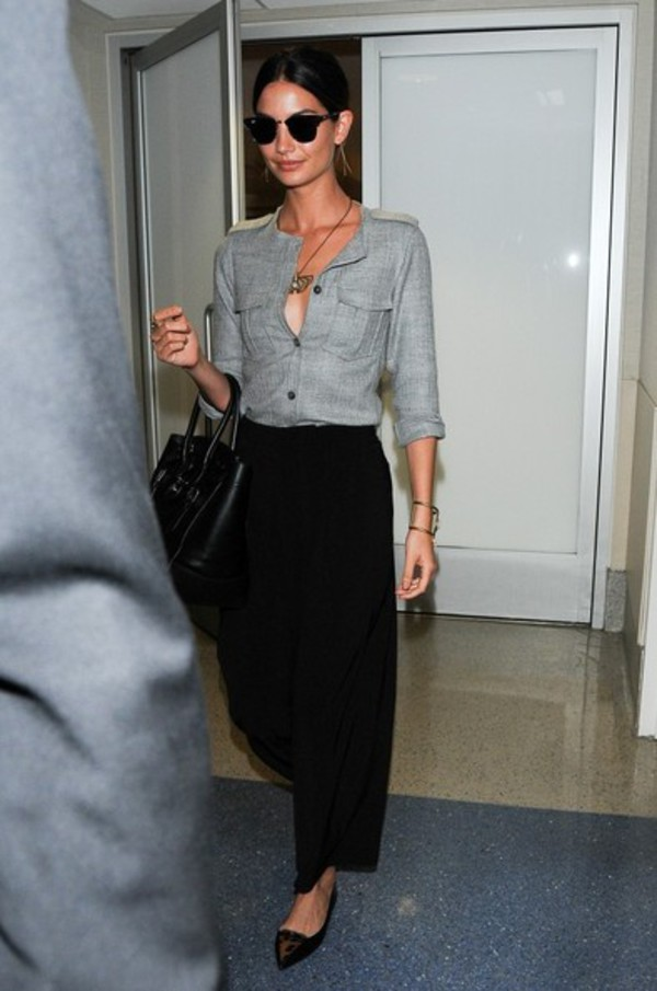 pants wide-leg pants lily aldridge shoes flats