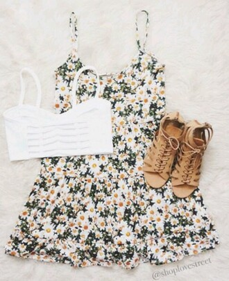 dress daisy dress flowers floral dress spring cute green white yellow tumblr