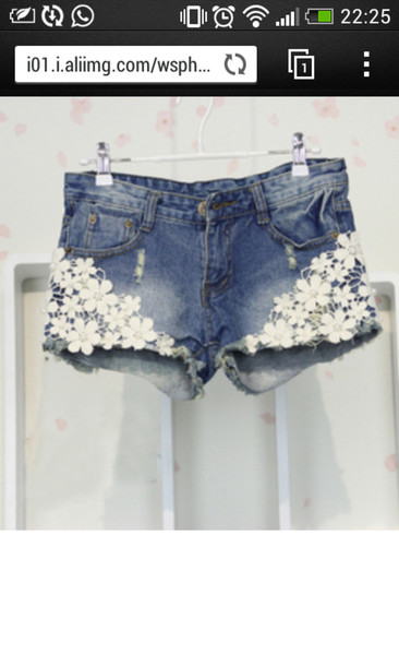 shorts light blue flowers white hot pants nice beautiful summer beach