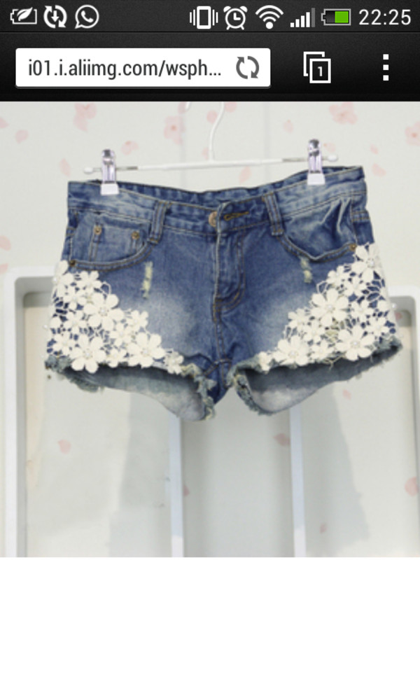 shorts light blue flowers white hot pants nice beautiful summer beach