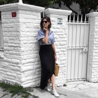 skirt black skirt tumblr midi skirt asymmetrical shirt blue shirt sneakers white sneakers bag sunglasses