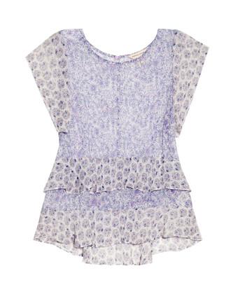 top floral print silk light purple