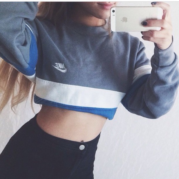 sweater style clothes fashion nike sweater nike blue crop tops cropped sweater crop top sweater crop tops crop top hoodie grey sweater urban streetwear streetstyle tumblr sweater tumblr tumblr girl tumblr clothes long sleeves long sleeve prom dresses dope dope wishlist swag high waisted jeans