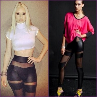 pants leggings shirt jeans iggy azalea cuir black