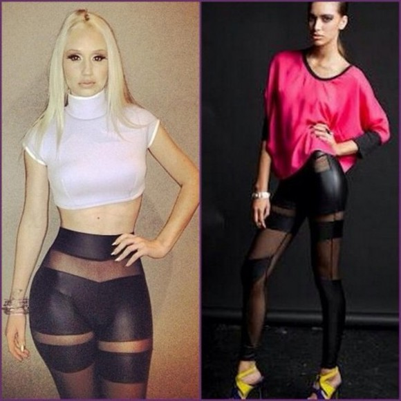 pants cuir iggy azalea leggings shirt jeans black