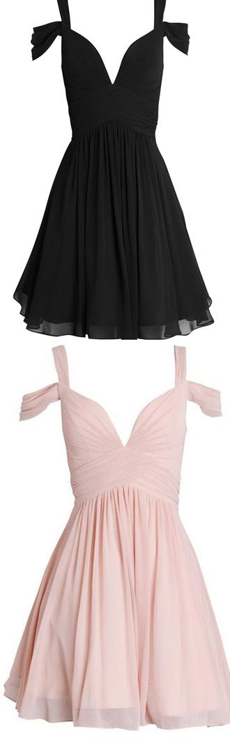 dress homecoming dress short homecoming dress chiffon off the shoulder lovely hot selling v neck dress for teens